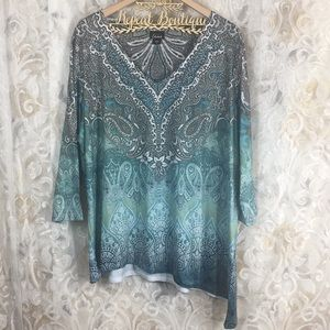 Simply Emma 3x like new blue green gemmed blouse